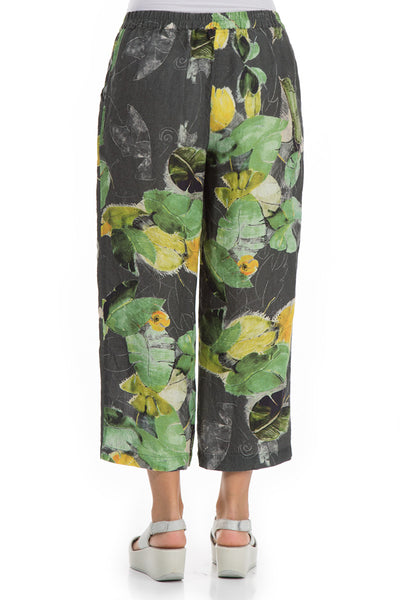 Cropped Waterlilies Print Linen Trousers - GRIZAS | Natural Contemporary Womenswear