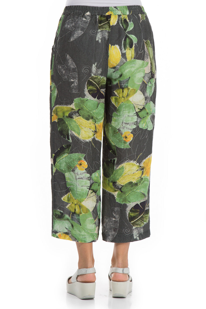 Cropped Waterlilies Print Linen Trousers