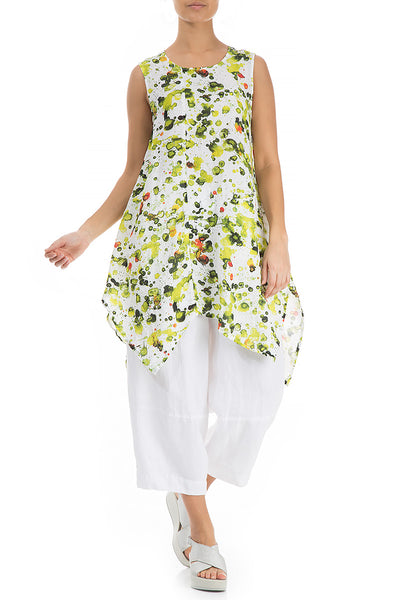 Cut Out Hem Lime Splash Print Linen Tunic - GRIZAS | Natural Contemporary Womenswear