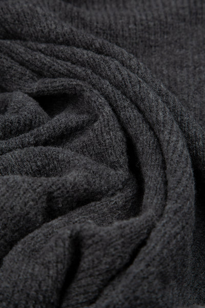 Two Pockets Dark Grey Wool Sweater