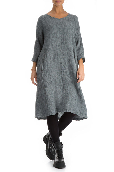 Decorated Back Breeze Linen Dress