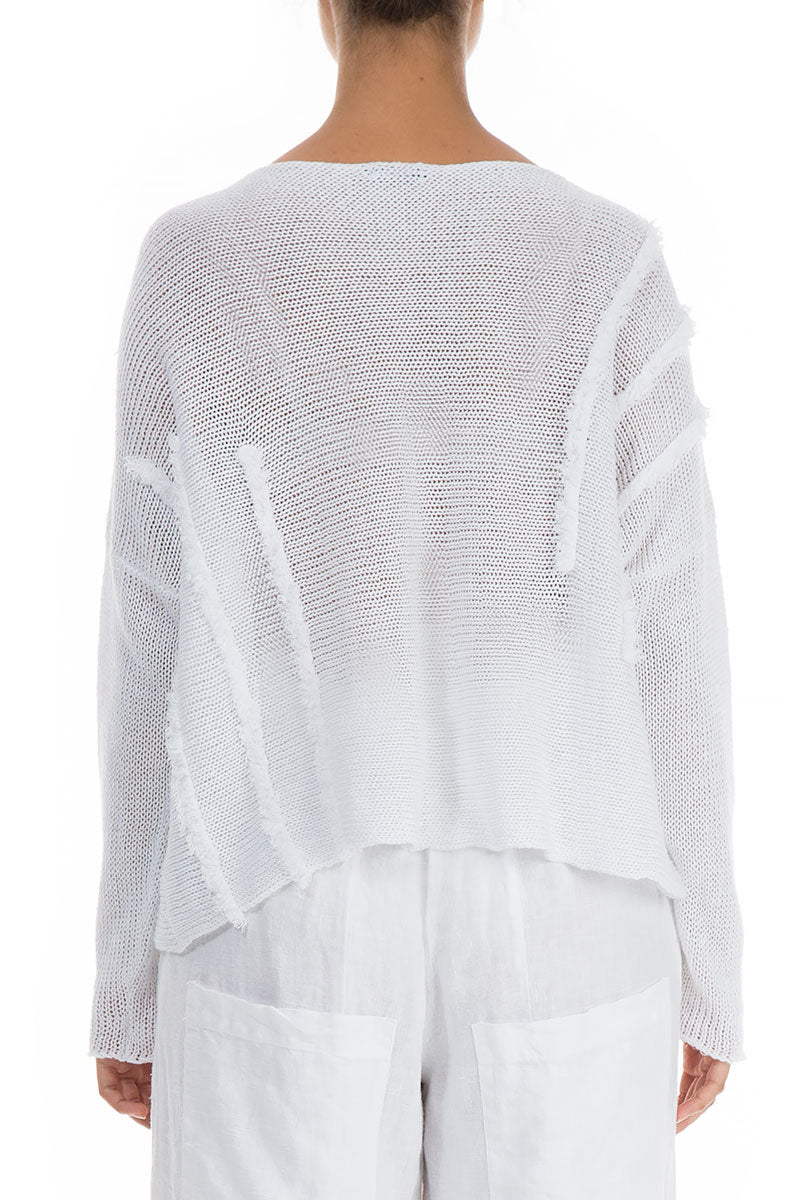 Decorated Boxy White Linen Sweater