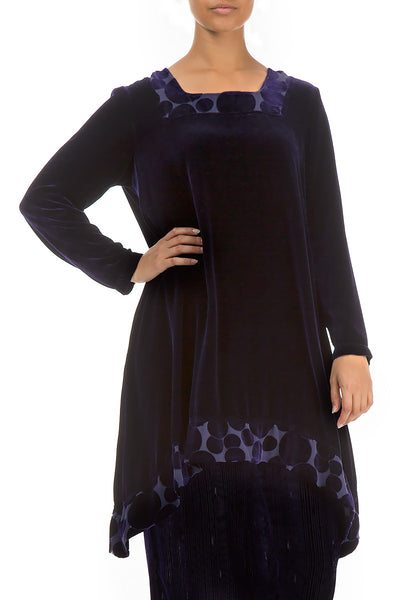 Decorated Bubbles Royal Purple Silk Velvet Tunic