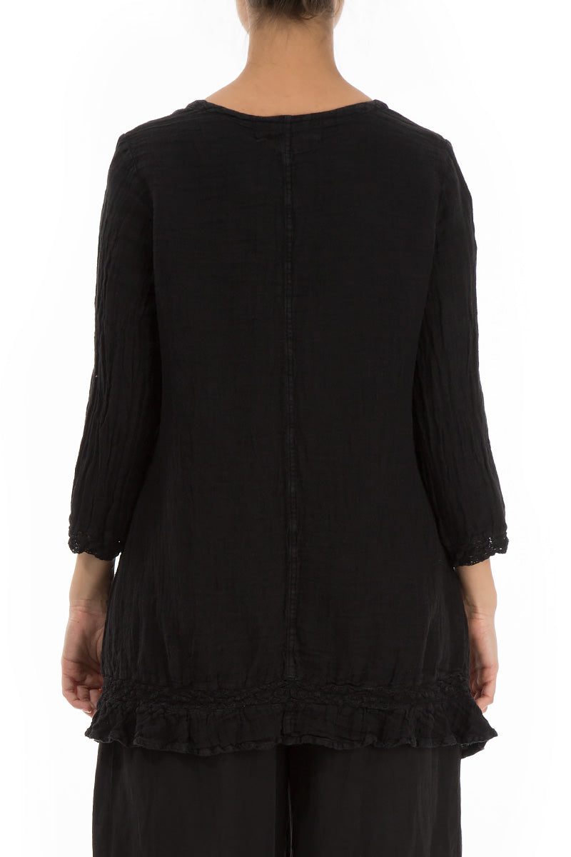 Decorated Hem Black Linen Tunic