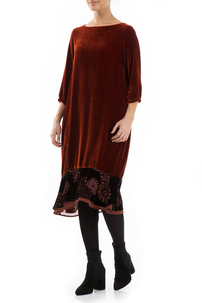 Decorated Hem Brick Silk Velvet Dress