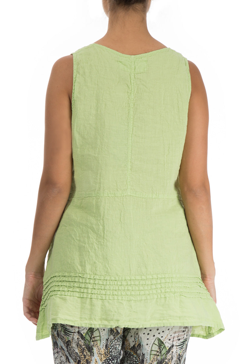 Decorated Lime Linen Blouse - GRIZAS | Natural Contemporary Womenswear