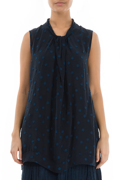 Decorated Neck Dotty Blue Night Silk Blouse