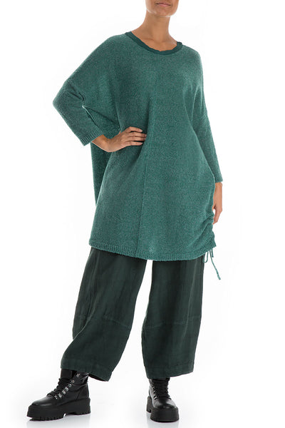Drawstring Green Wool Sweater