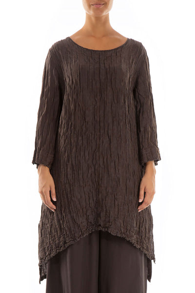 Detachable Collar Crinkled Ash Tunic