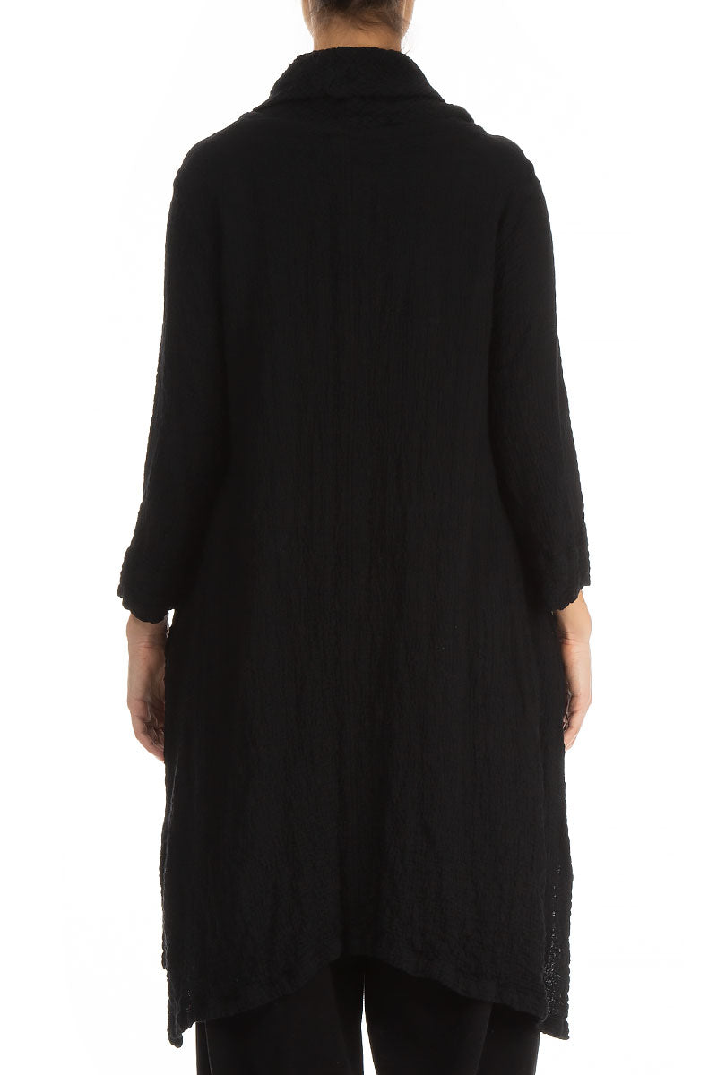 Detachable Collar Black Wool Tunic