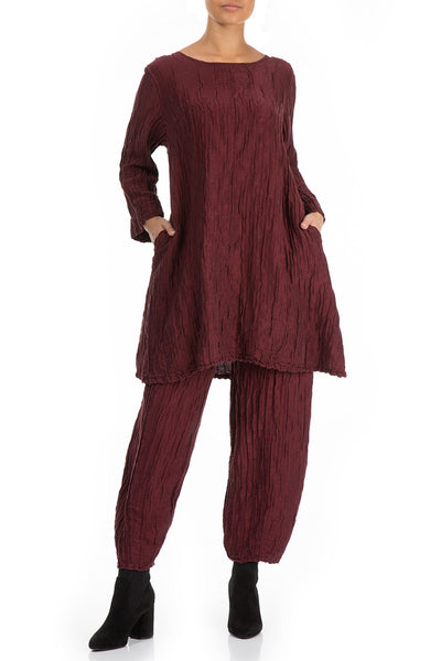 Detachable Collar Crinkled Burgundy Tunic