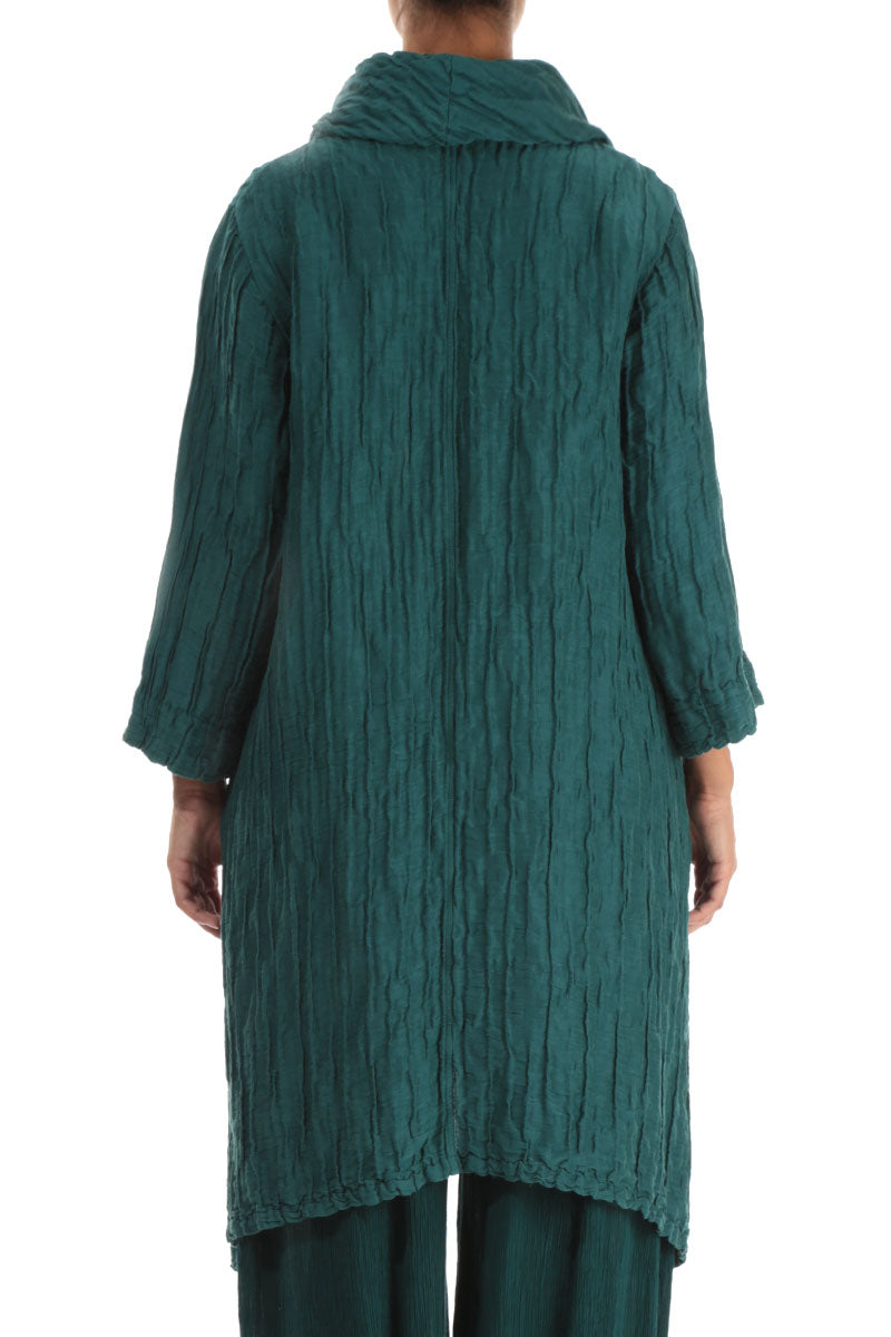 Detachable Collar Crinkled Emerald Tunic