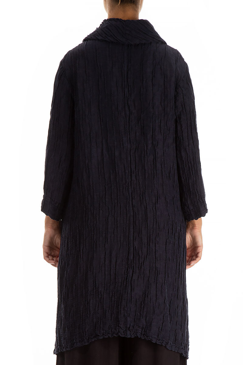 Detachable Collar Crinkled Midnight Blue Tunic