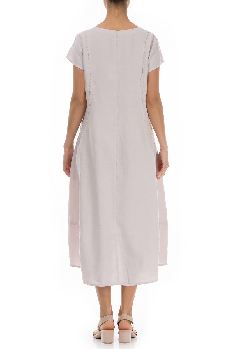 Detailed Beige Linen Dress - GRIZAS | Natural Contemporary Womenswear