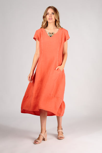 Detailed New Orange Linen Dress - GRIZAS | Natural Contemporary Womenswear