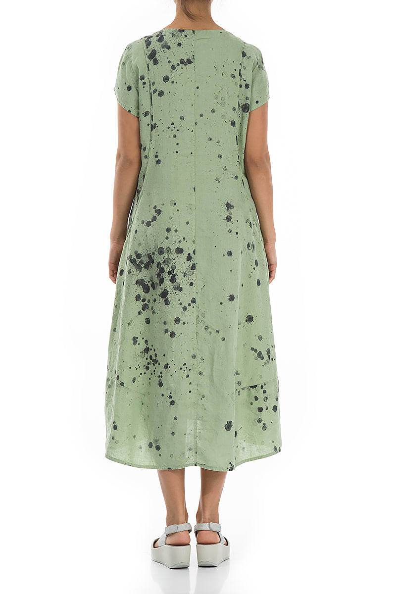 Detailed Splash Print Mint Linen Dress