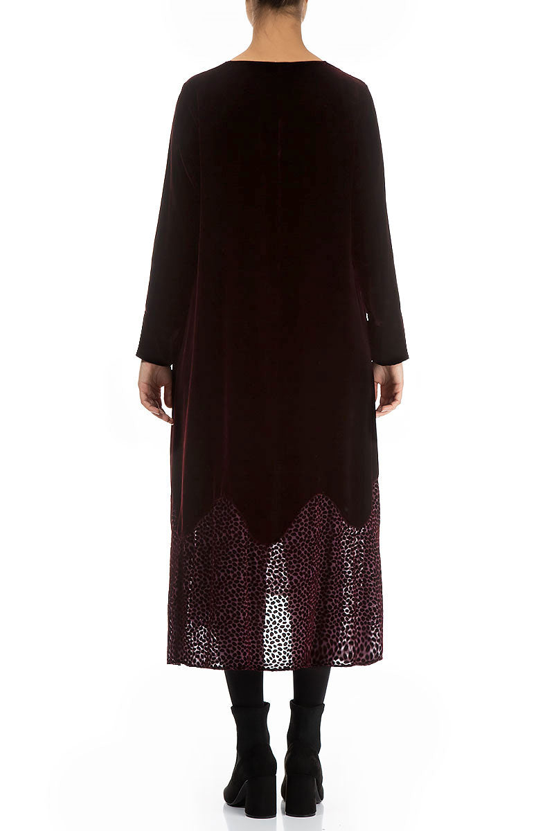 Devoré Dot Hemline Wine Silk Velvet Dress