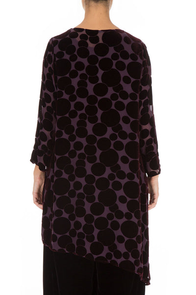 Devoré Bubbles Asymmetrical Wine Velvet Tunic