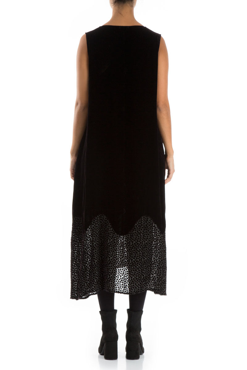 Devoré Dot Hemline Ash Silk Velvet Dress