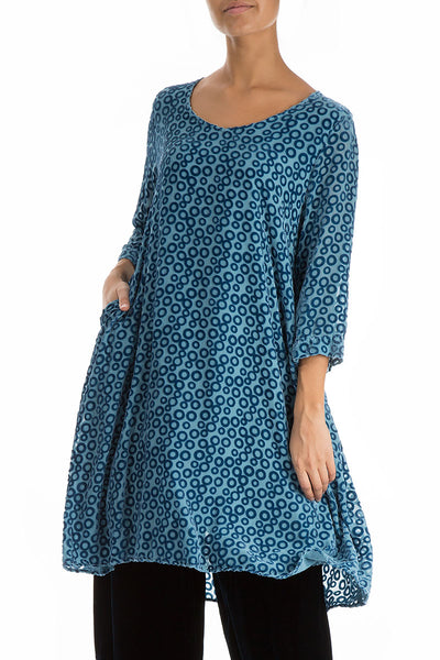 Devoré Ring Sky Blue Silk Velvet Dress Tunic