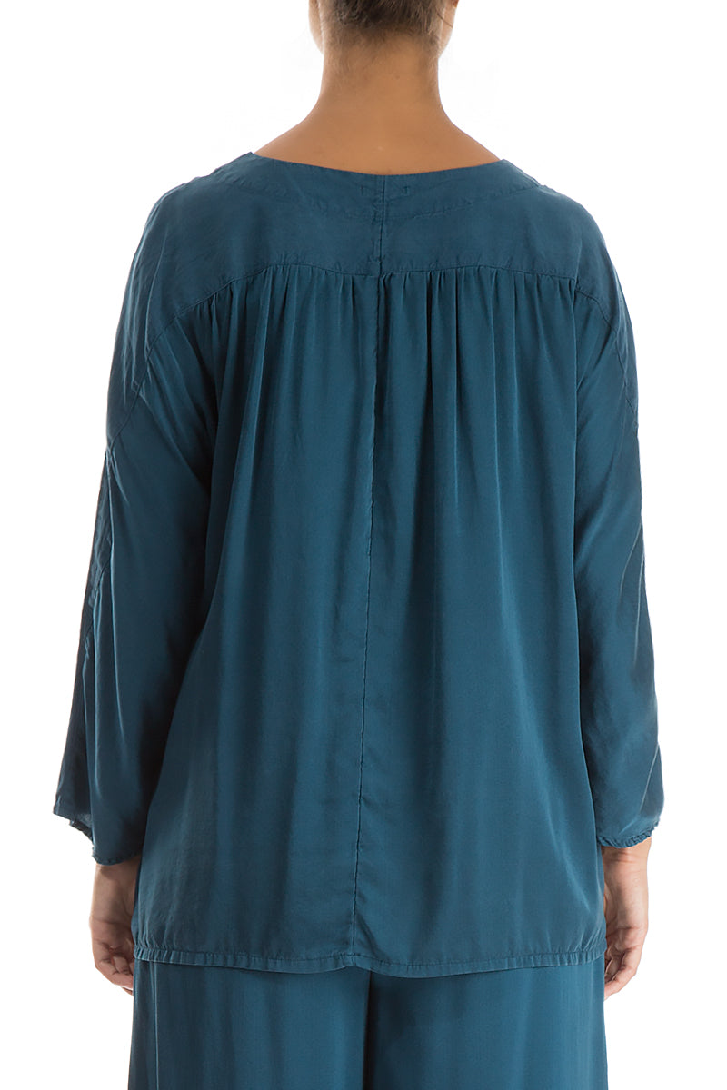 Divided Peacock Blue Silk Blouse