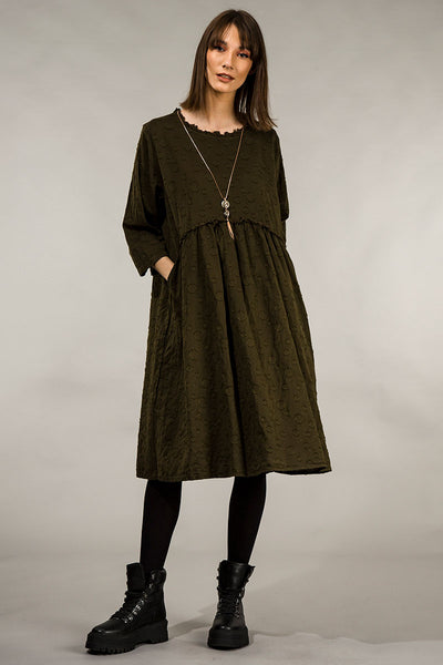 Dotty Black Olive Silk Cotton Dress
