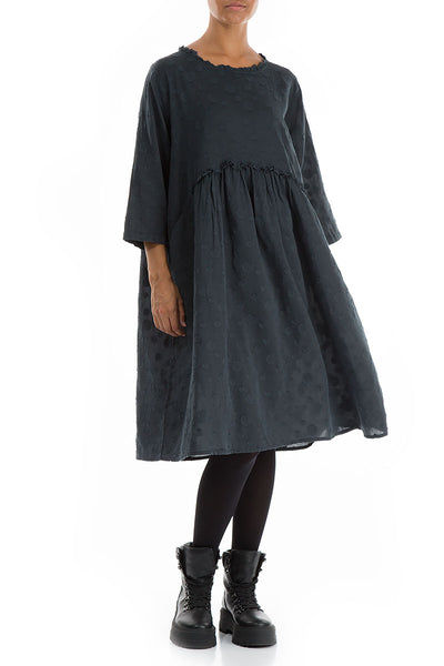 Dotty Midnight Blue Silk Cotton Dress