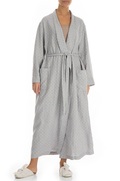 Dotty Grey Pure Linen Bathrobe