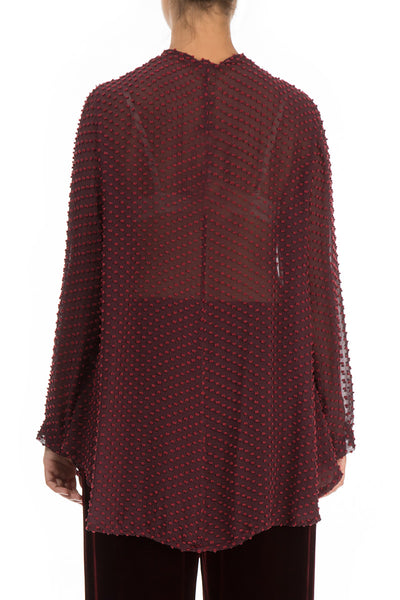 Dotty Burgundy Silk Jacket - Blouse