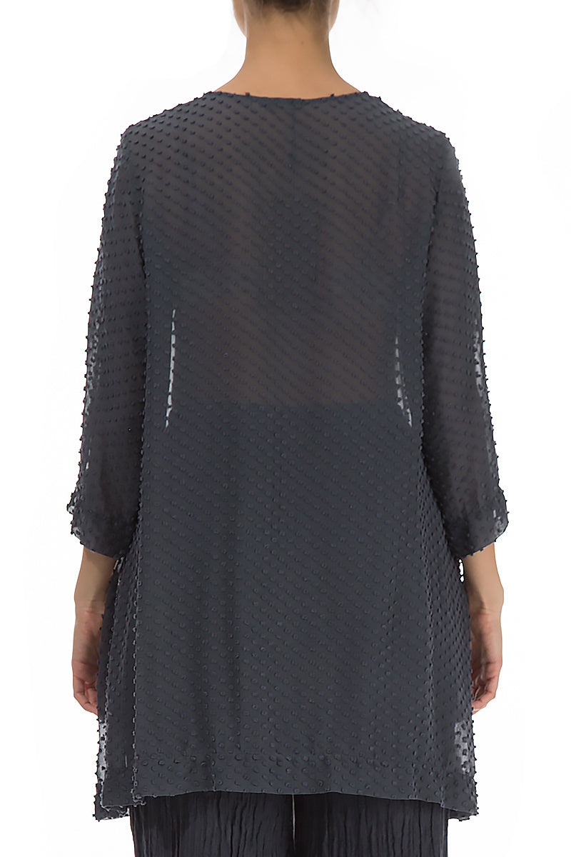 Dotty Charcoal Silk Tunic