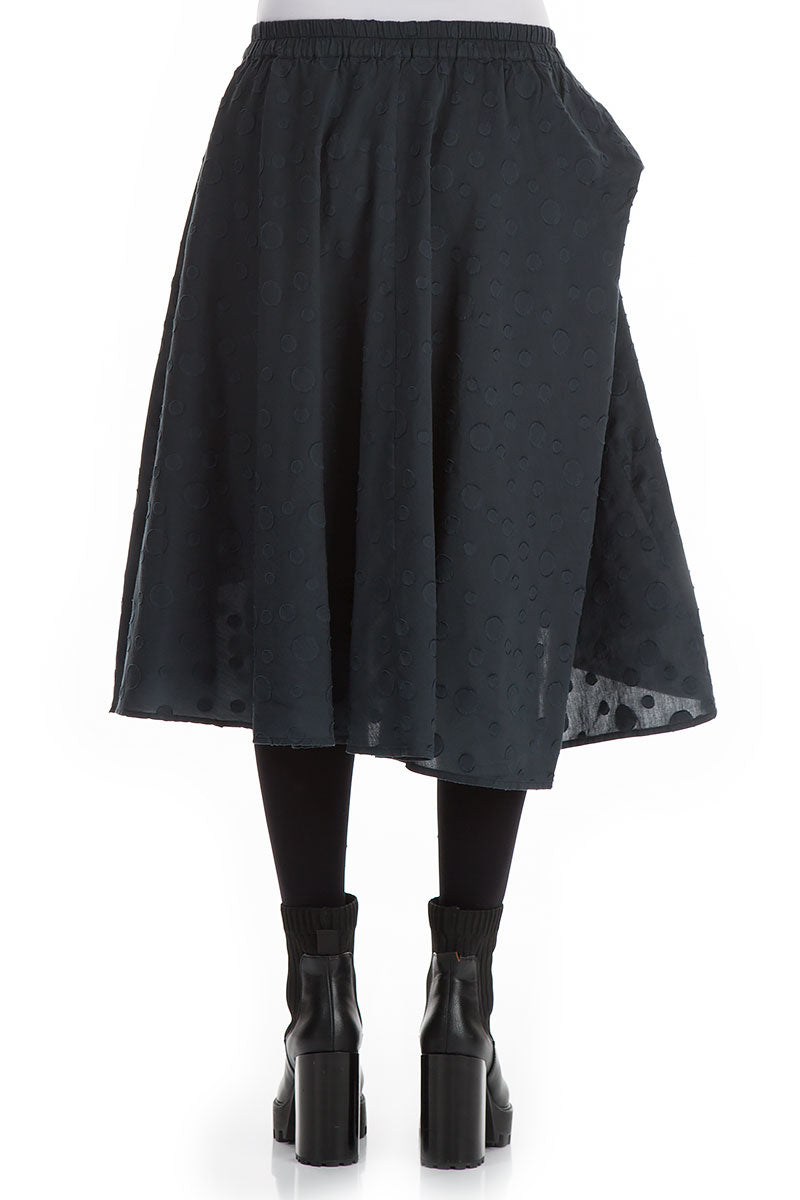 Dotty Midnight Blue Silk Cotton Skirt