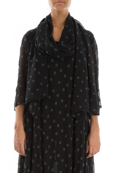 Dotty Midnight Blue Silk Scarf