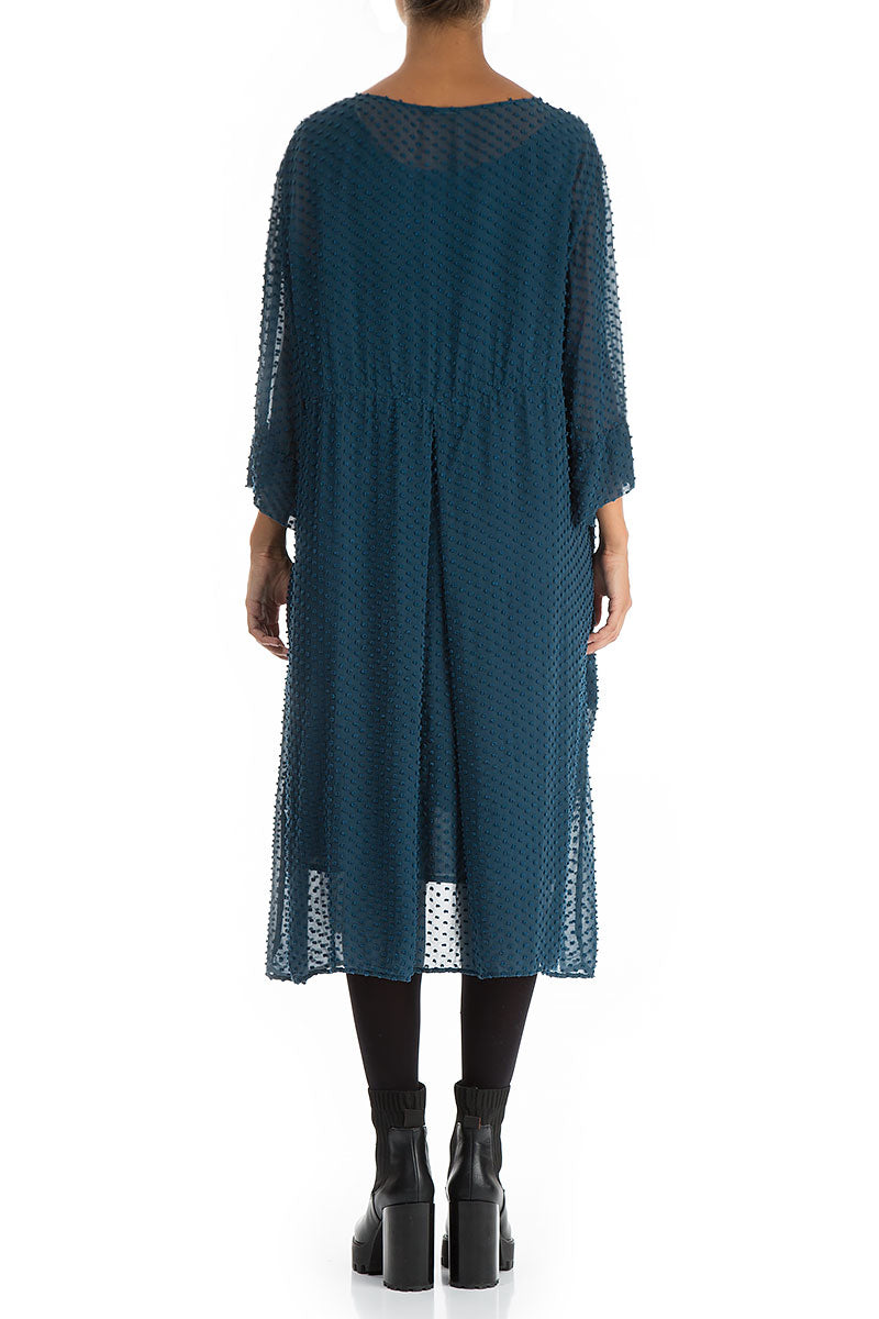 Dotty Peacock Blue Silk Dress