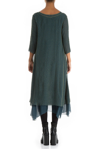 Dotty Pine Silk Dress