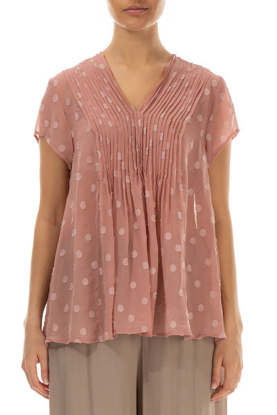 Dotty V-Neck Antique Rose Silk Blouse