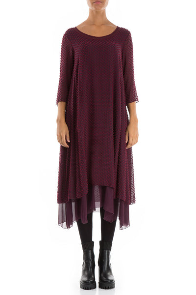 Dotty Wine Silk Dress