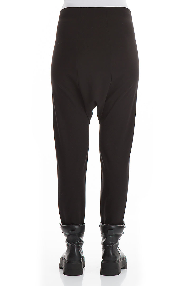 High Waist Dropped Crotch Black Cotton Trousers