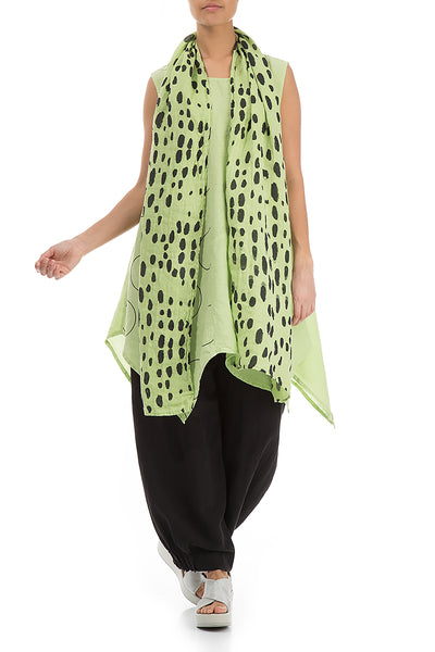 Drops Print Lime Linen Scarf