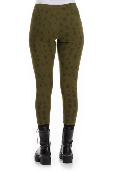 Drops Printed Khaki Cotton Leggings
