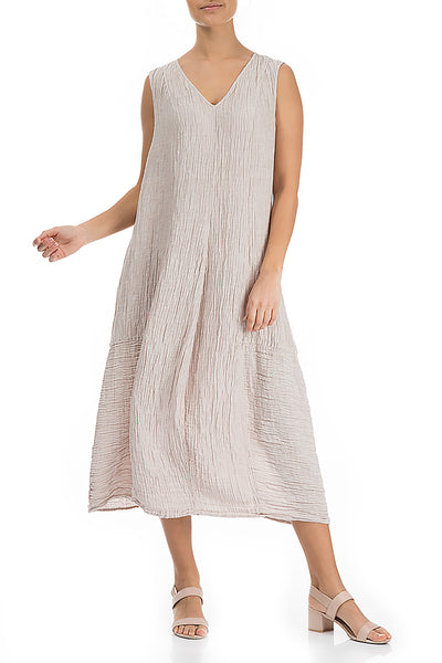 Easy Crinkled Beige Silk Linen Dress - GRIZAS | Natural Contemporary Womenswear