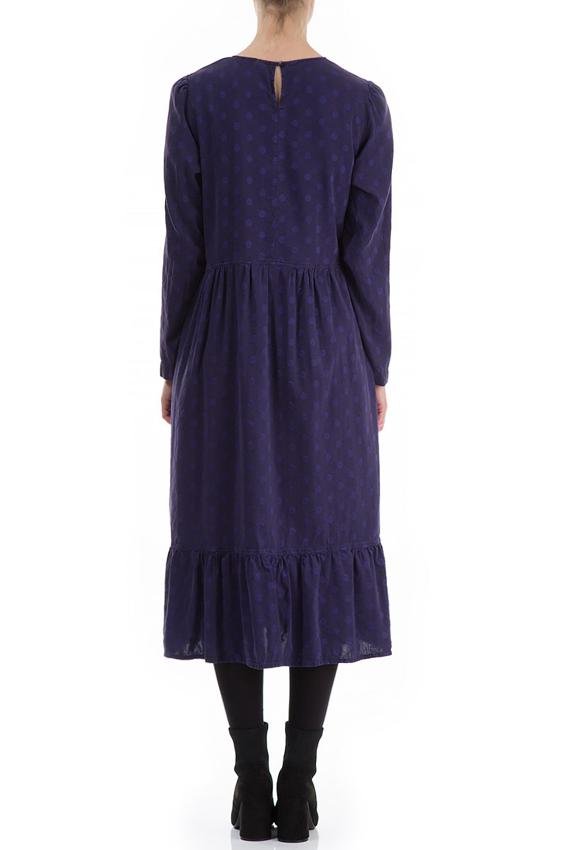 Flared Dotty Royal Purple Silk Dress