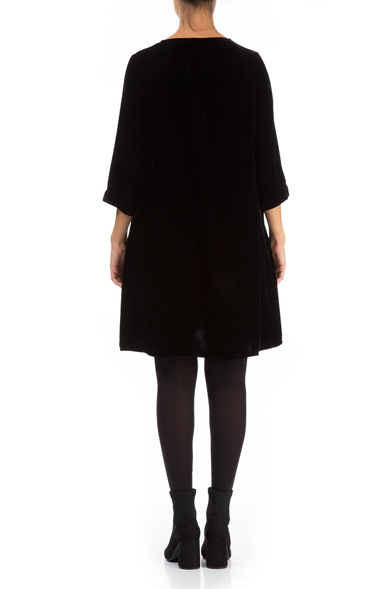 Elegant Black Silk Velvet Dress - GRIZAS | Natural Contemporary Womenswear