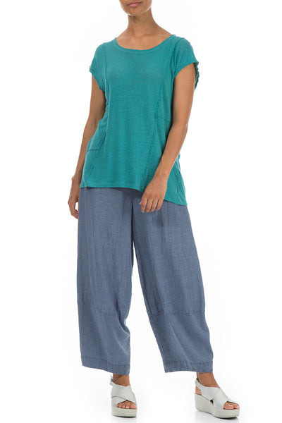 Exposed Seam Aqua Green Linen Jersey Top