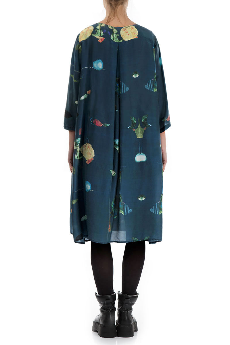 Flared Fairy-Tale Print Silk Bamboo Dress