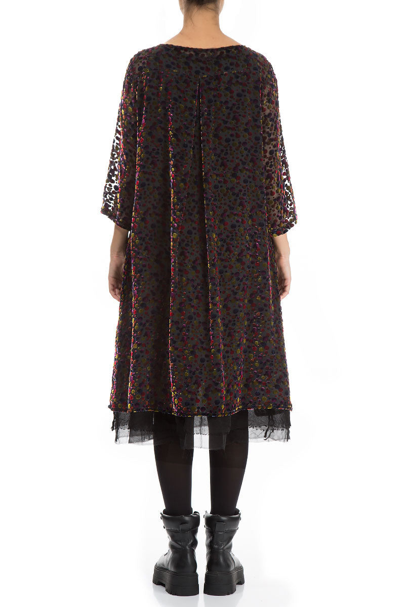 Flared Festive Devoré Dot Silk Velvet Dress