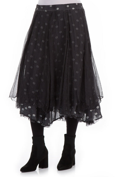 Flared Anthracite Silk Chiffon Skirt