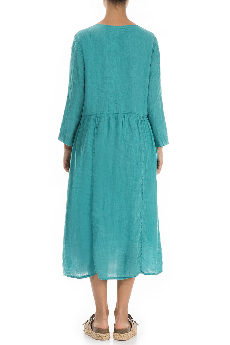Flared Aqua Green Linen Dress