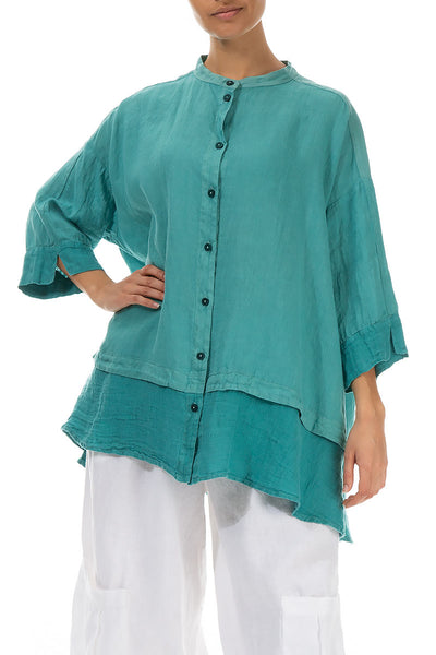 Flared Aqua Green Linen Shirt