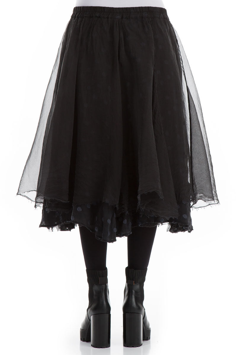 Flared Black Silk Chiffon Skirt