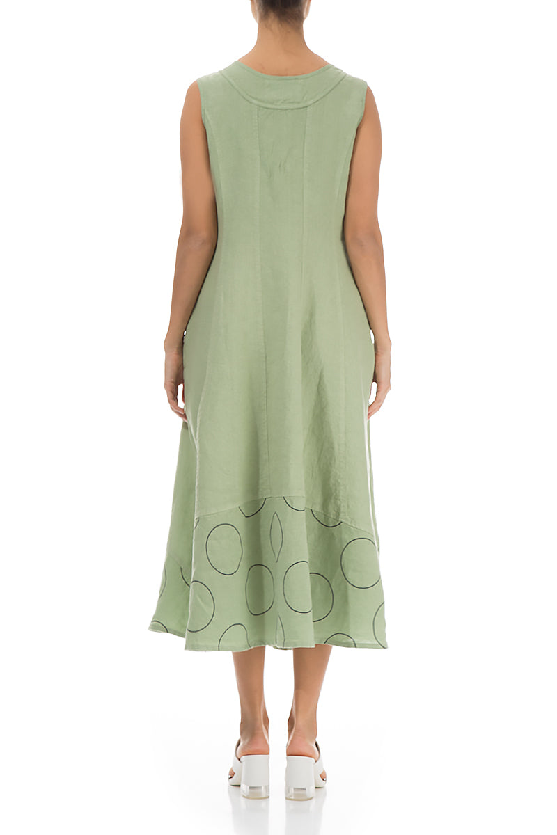 Flared Bubble Hem Mint Linen Dress